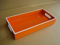 lacquer tray handmade in Vietnam orange color