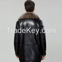2015 Luxurious American Racoon Dog Hair Collar Sheepskin Fur Genuined Leather High Quality Male Outerwear Coat Clothing Jacket