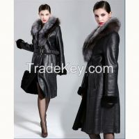 2015 Long Thicken Large Silver Fox Hair Collar Slim Elegant Black Merino Sheepskin Fur Wool Genuine Leather Berber Fleece Jacket