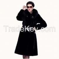 2015 Top Luxury Mink Hair Statehood Women Black Merino Sheepskin Fur Wool X-long Genuine Leather Jacket Outerwear coat Overcoat