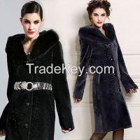 2015 Women Luxury Mink Hair Trim Hooded Elegant Long 100% Guaranteed Genuine Leather Sheepskin Wool Clothing Outerwear Fur Coats