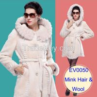 2015 Luxury Fashion Mink Hair Hooded Merino Sheepskin Fur Wool Medium Long Elegant Women's Overcoat Clothing Outerwear Jackets