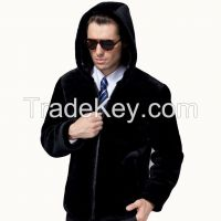 2015 Men's Luxury Fashion 100% Merino Sheepskin Wool Real Natural Fur Hooded and Collar Genuine Leather Zipper Front Fly Clothing Coat Jacket