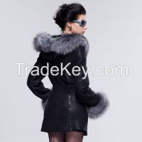 2015 Luxury Silver Fox Hair Collar Statehood Women's Black Sheepskin Wool Medium Long Real Fur Coat Clothing Outwear Overcoat