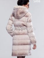 2015 Women Luxury Mink Hair Trim Hooded Elegant Long 100% Guaranteed Genuine Leather Sheepskin Wool Clothing Outerwear Fur Coats