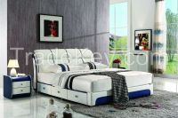 NYF661# quality style modern design leather bed king size bed