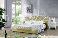 NYF528# quality Neoclassical design leather bed home bed
