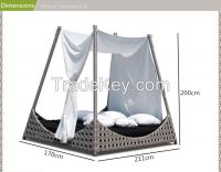 outdoor aluminium frame rattan furniture garden daybed