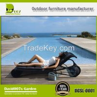 outdoor garden furniture PE rattan sun lounger