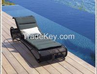 outdoor garden furniture PE rattan sun lounger
