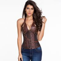 Stylish Floral 14 Steel Bone Steampunk Leather Corset with Thong