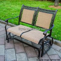 2-seater cast aluminum rocking chair loveseat glider bench in sling fabric seat& back for patio/outdoor park bench #IVY14109