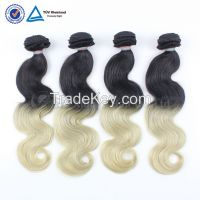 New arrival cheap ombre hair extension,two tone omber brazilian hair 1b 613 two tone hair