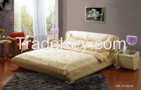 Romantic King Size Wood Bed, Leather Double Bed
