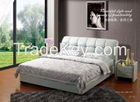 Chinese Style Leather King Bed, Classic Fabric Bed For New-married