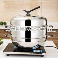 All steel steaming & frying pot