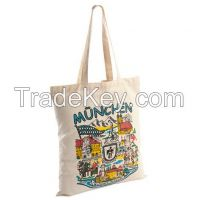 100% natural color long handle calico bags
