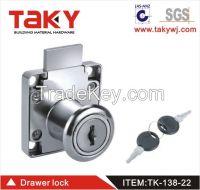 TK-138-22 High quality square shaped zinc alloy furniture drawer lock