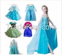wholesale sell Frozen dress 2015 New girls Elsa & Anna frozen Dress For Girl diamond Princess Dresses party cosplay costume snow blue
