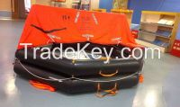 Throw-overboard inflatable life rafts