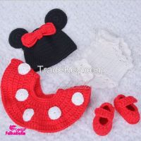 Baby kint skirts set children sweater kintting wear polka dots tutu skirt and shoes with mouse bow