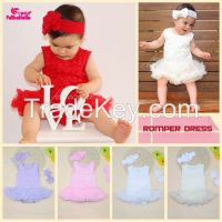 Wholesales retail new baby girls dress sleeveless rosette ruffle romper vestidos with sandal and headband set
