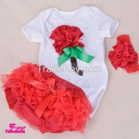 wholesale baby romper kid clothing with match ruffle skirt and bow headband sets baby clothing 3pcs