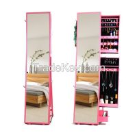 Modern Wooden Floor Standing Jewelry Cabinet  with Dressing Mirror