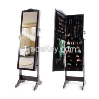 Classical Large Floor Standing Wooden Mirrored Jewelry Cabinet Bedroom