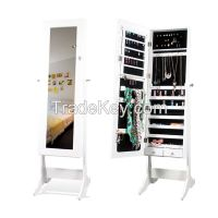 Top Selling Living Room Big Wooden Dress Jewelry Organizer with Mirror
