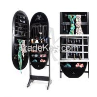 Living Room Top Wholesale Mirrored Oval Jewelry Cabinet Amoire Stand