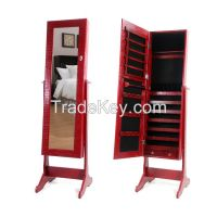 Living Room Wooden Mirrored Jewelry Storage Cabinet Amoire Organizer