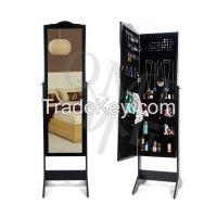 Wood Floor Standing Jewelry Cabinet Storage Box Organiser with Mirror