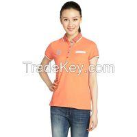 Chest Pocket Soft Cotton Blend Women Polo Shirt  3170208