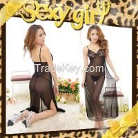 sexy gown long satin nightgown exotic apparel chemise de nuit tenue sexy baby doll sexy lingerie sleepwear women gown and robe