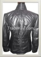Women's High Neck Styled Leather Jacket Style F-12255A
