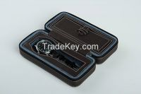 Diplomat Black  leather double watch Travel case  item #12072901