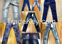 Printed garment dyed womens denim