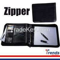 a4 zipper conference padfolio with 4 ring, black business pu leather portfolio for both men and women