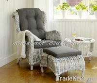 Poly rattan relax chair and stool