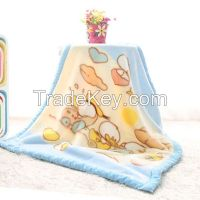 Coral Fleece Baby Blanket With Embroidery