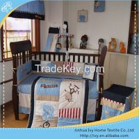Plain fabric joint baby bedding set