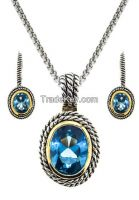 Double Cable 2 pcs Set Earring & Necklace Blue Topaz