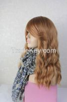 Women Sexy Light Brown Oblique bangs Large waves mechanism dedicated big Curl Roll wave bangs scroll Loose Wave