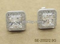 925 Silver Square Shape Stud Earrings White Colorff