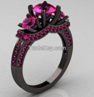 925 sterling silver ring, setting ruby, Gun Color Plating