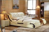 Synthetic Leather Material bed/ Home Furniture/ General Use leather double bed/hotel bed