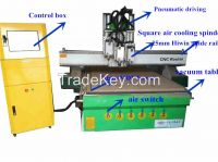 woodworking CNC router 1325 with three spindles. ATC CNC router for kitchen cabine design for sale