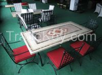 outdooor furniture rectangle marble dining table set