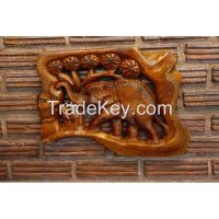 Teak Wall Hanging - Elephant Walking Through The Forest